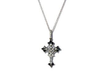 18K Baguette Diamond Cross Pendant/Necklace