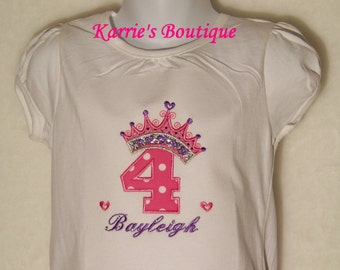 Princess Birthday Shirt  / Personalized / 1st Birthday / Bling Crown / Pink / Purple / Silver / Baby / Girl / Toddler / Boutique Clothing