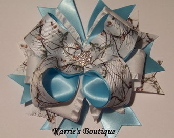 Camo Hair Bow / Snow Camo + Lt. Blue / Wedding / Bling / Speciality / Girl / Baby / Infant / Toddler / Handmade / Custom Boutique Clothing