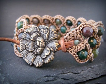 "Boho Beaded Crochet Cuff Bracelet ""Bohemian Woodland"", multi gemstones, brass and leather accents"