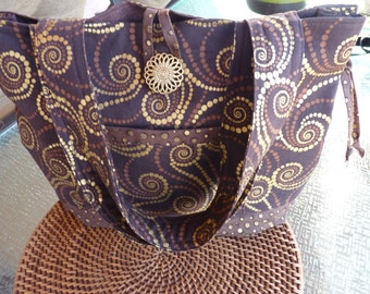 Handcrafted Brown and Gold Swirls Shoulder Bag/Handbag/Tote Bag/Market Bag