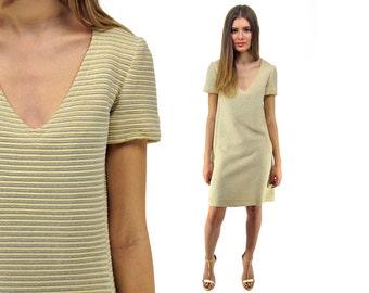 60s Mod Shift Dress, Knit Dress, Wool Dress, Youth Quake Dress, Lurex Dress, Ribbed Dress, GoGo, Space Age 60s Dress  Δ size: xs / sm