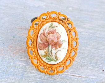 Orange Flower Collar Clip - Porcelain Cabochon Scarf Clip