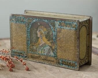 antique Alphonse Mucha tin