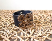 Leather Cuff Bracelet with Copper Metal Flower - Black Leather Cuff - Size MEDIUM