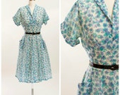 1950s Vintage Dress Aqua and Blue Sheer Floral Print Nylon Vintage 50s Day Dress with Full Skirt Size Xsmall