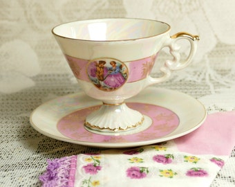 Vintage Colonial Scene Cup and Saucer, Vintage Teacup, Pink Teacup, Cup and Saucer
