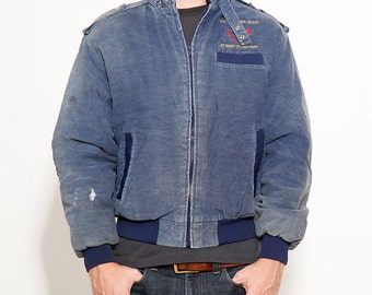 Vintage Corduroy Messenger Jacket 80s Mens Distressed Navy Blue Winter Coat Made in USA size Medium - Hung