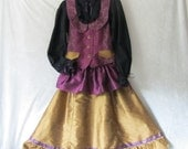 On Sale - Teen Girl's Renaissance, Victoria: Vest, Blouse, Ruffled Skirt With Bustle Ties, Silk & Cotton, Size 12 - 14, Ready To Ship