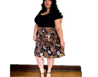 Plus Size Vintage 1970's Brown Poly Floral Skirt Size XL