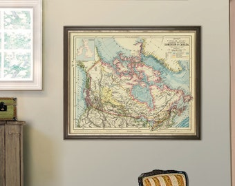 Canada map - Old map of Canada print - Archival reproduction