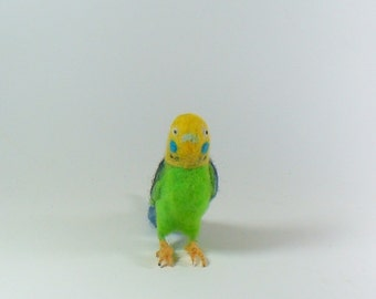 Needle Felted Green and Yellow Parakeet