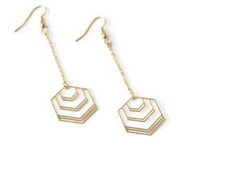 Boucles d'oreille hexagone longue dorées à l'or fin