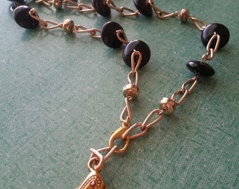 """Beaded ID Lanyard, Name Tag Holder, Necklace. 36.5"""".  Big Black Beads on Gold colored Chain"""