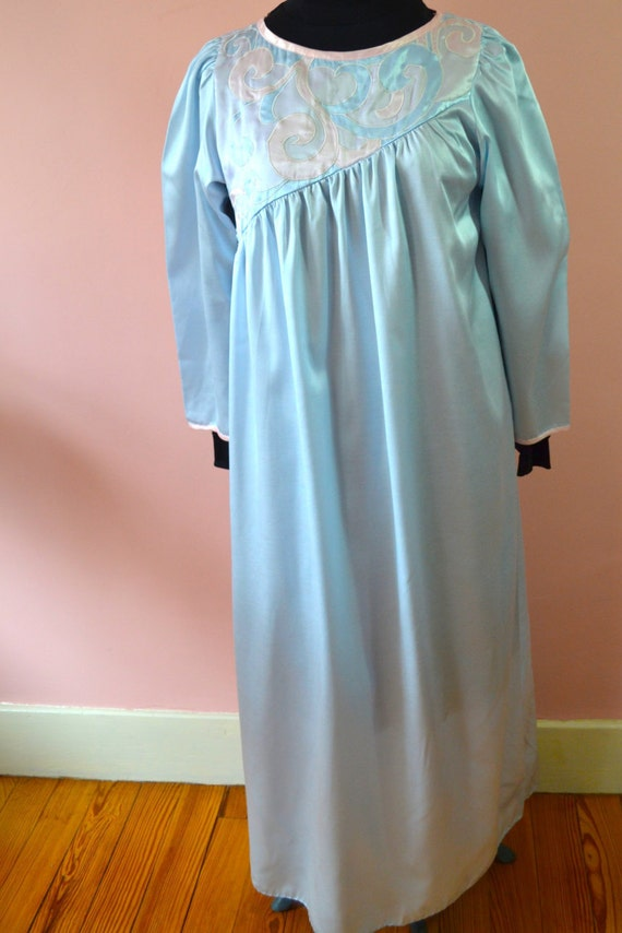 Satin Flannel Lined Natori Long Nightgown with Brush Flannel