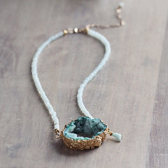 Green Druzy Necklace - Green Statement Necklace