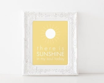 INSTANT DOWNLOAD There is Sunshine in My Soul Today - 8x10 printable graphic art, yellow sun sunshine LDS art