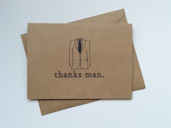 Groomsmen Cards - Recycled Craft Brown Paper / Wedding Party Cards, Gift, Bridal Party, Ringbearer