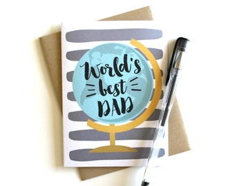 Father's Day Card - 'World's Best Dad', Dad Card, Father Card, Birthday Card, Dad Birthday, Father's Day, Greeting Card