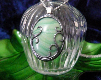 Glow in the Dark Polymer Clay Banded Green Pendant with Silver