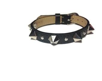 Metal Spike Studded Leather Bracelet Wristband, 10mm Flat Black Leather Buckle Bracelet Wristband With Spike Studs, Spiked Flat Leather