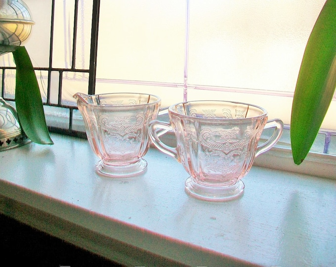 Madrid Creamer and Sugar Pink Depression Glass Recollections