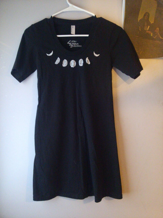 Moon Phases Dress Black Form Fitting Tee By Lizzystormdesigns