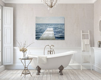 Lake Canvas Wrap, Bathroom Wall Decor, Blue and White Wall Art, Dock Photography Canvas, Cottage Chic Canvas Art, Large Picture