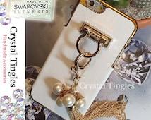 Brazalete Stylish Pearl Gold Tassel Chain Diamond Ring Wristlet Wrist Lanyard Design Hook Stand Jewelry Cover Charm Case For iPhone 6 Plus