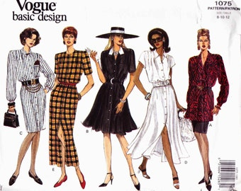 Vogue 1075 Button thru dress or tunic shoulder pleats straight or flared skirt sleeve variations Size 8-10-12 Basic Design uncut
