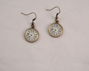 Steampunk Timepiece Pocket Watch Antiqued Bronze Earrings