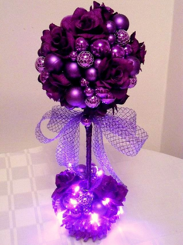 Purple passion topiary trees tabletop decor winter wedding