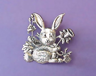 Adorable Sterling Silver Bunny with Daffodil Brooch