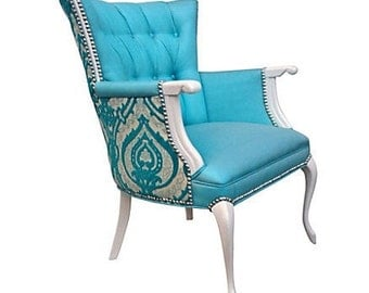 Vintage French Victorian Queen Anne Upholstered Arm Chair Aqua Turquoise Silk Damask Burnout Velvet Tufted Nailhead Wing Back