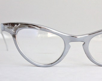 Vintage 50's All Aluminum Silver Cat Eyeglasses Frames