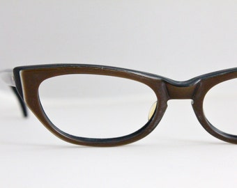 Vintage 50's Dark Chocolate Cat Eye Eyeglasses Sunglass Frames