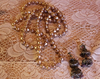 Pink Earrings Faux Pearl Necklace Art Nouveau Costume Jewelry Vintage 1950s 50s (J1)