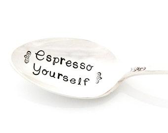 Espresso Yourself, hand stamped demitasse spoon. Stamped Espresso Spoons by Milk & Honey. I Heart Espresso.
