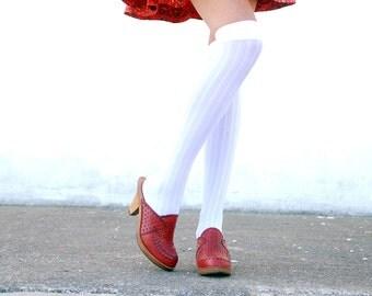 Vintage red clogs shoes, 1970s leather wooden platform heels, mod retro boho oxblood mules slip on wood Qualicraft 6 7 SALE