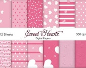 Sweet Hearts  - Digi Papers - 12 Sheets  Downloadable Paper Pack