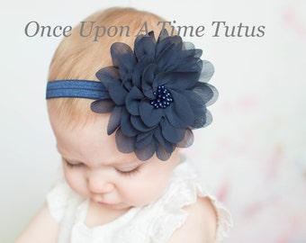 Navy Blue Flower Puff Headband - Newborn Baby Hairbow - Little Girls Hair Bow - Christmas or Winter Accessories - Dark Classic Easter Color
