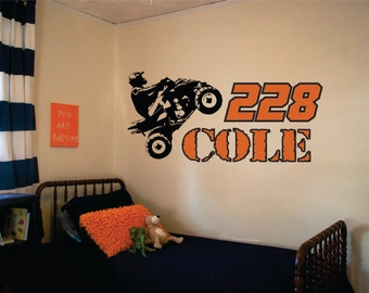 Motocross wall decal motocross decor dirt bike wall decal for Dirt bike wall mural