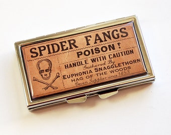 Pill case, 7 sections, Pill Container, 7 day pill box, 7 day, Pill Box, poison, Brown, Spider Fangs, Made in Canada, Fun Gift (4747)