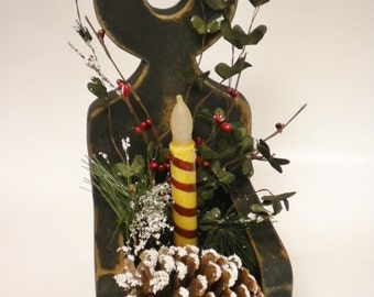 Primitive Christmas Candle Box Arrangement, Candle Holders, Lighted Home Decor