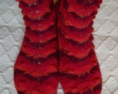 Marie -Handknitted wool socks Womens teens girls Cosy boot lace sock Home night ooak Red Winter Warm Gift idea Handmade in FINLAND