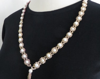 Vintage 70s costume jewelry, tassel necklace, pearl beads, womens accessories, mod retro