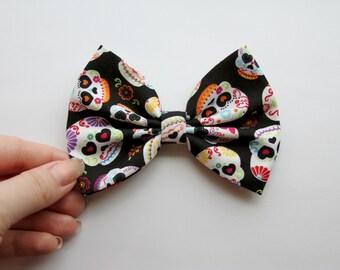 Sugar Skull Hair Bow - Black Hair Bow with Sugar Skull Pattern and Clip