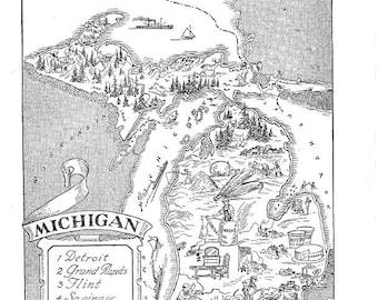 Michigan map wall decor