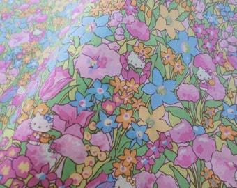 Japanese fabric pink liberty fabric, kitty and flowers cotton half a yard, quilt decoration tenugui japanese flowers cotton fabric,