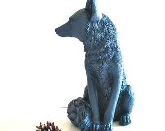 NAVY BLUE Large Fox Animal Statue woodland decor kids room decor den office decor nursery decor faux animals painted animal unique gift